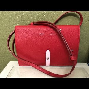 Celine Strap Cluth in Grained Calfskin Red/Pink